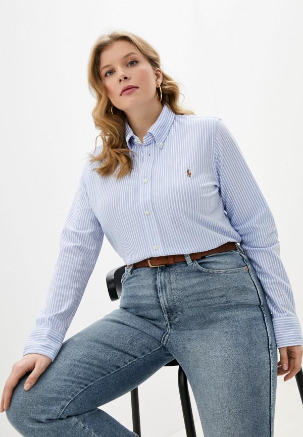 женская рубашка с длинным рукавом polo ralph lauren, голубая