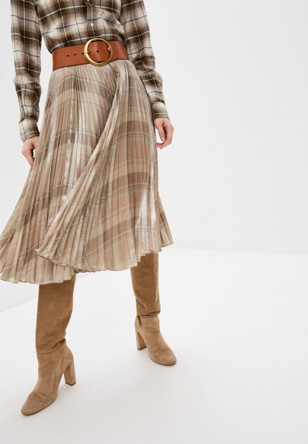 женская плиссированные юбка polo ralph lauren, бежевая