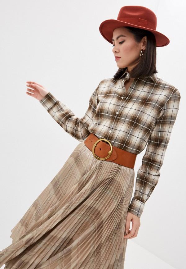 женская рубашка с длинным рукавом polo ralph lauren, коричневая