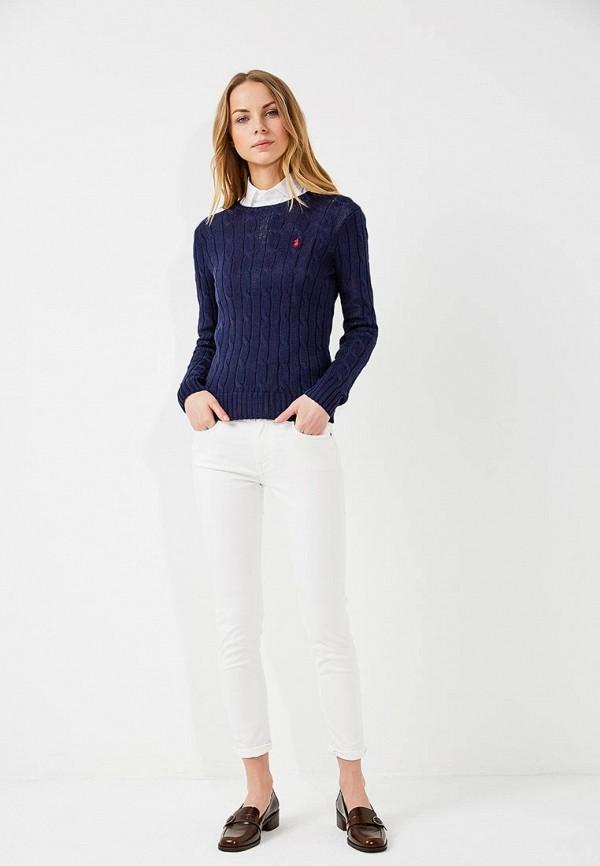 Фото 2 - женский джемпер Polo Ralph Lauren синего цвета