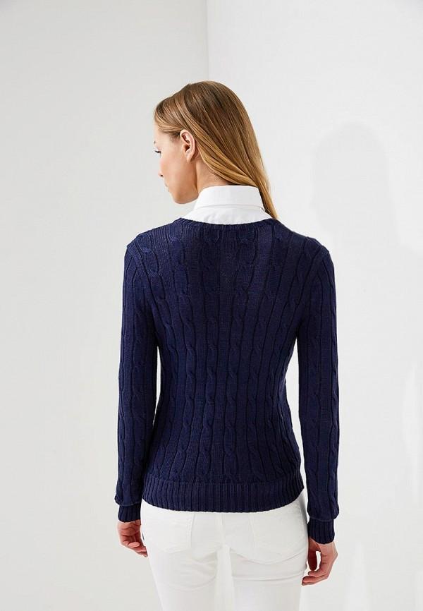 Фото 3 - женский джемпер Polo Ralph Lauren синего цвета