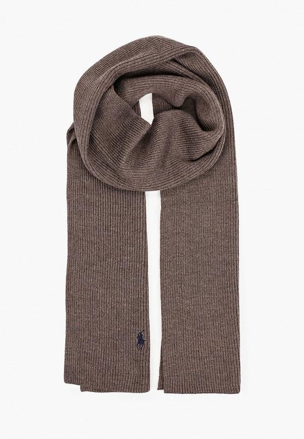 мужской шарф polo ralph lauren, коричневый