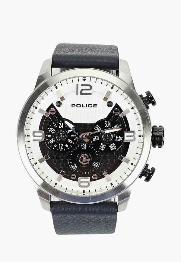 мужские часы police, серебряные