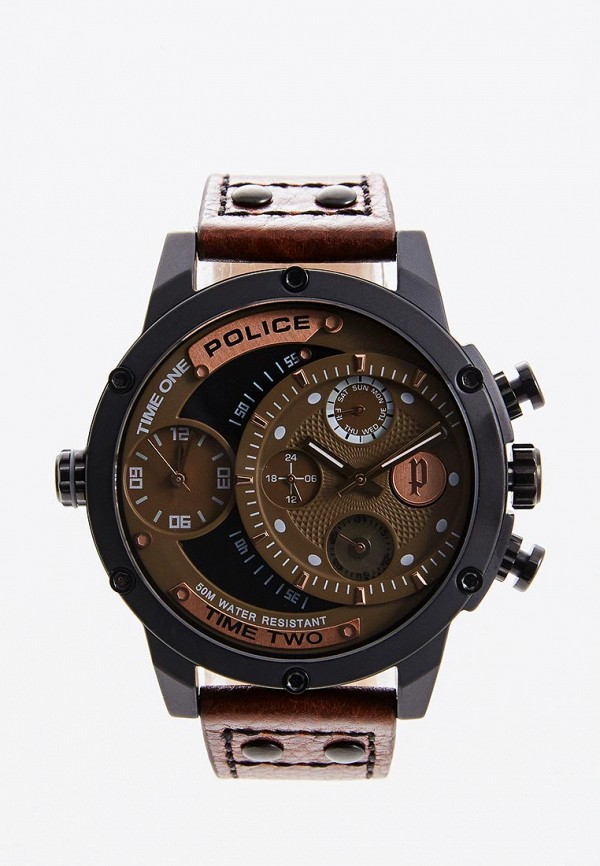 мужские часы police, коричневые