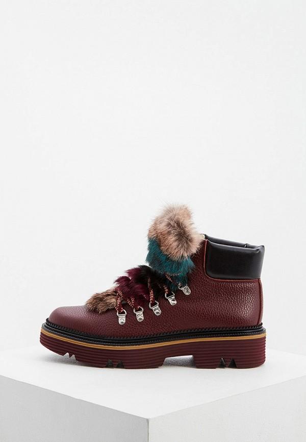женские высокие ботинки pollini, бордовые