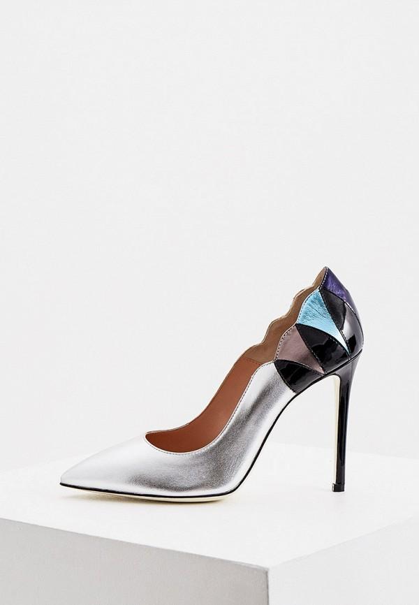 женские туфли-лодочки pollini, серебряные