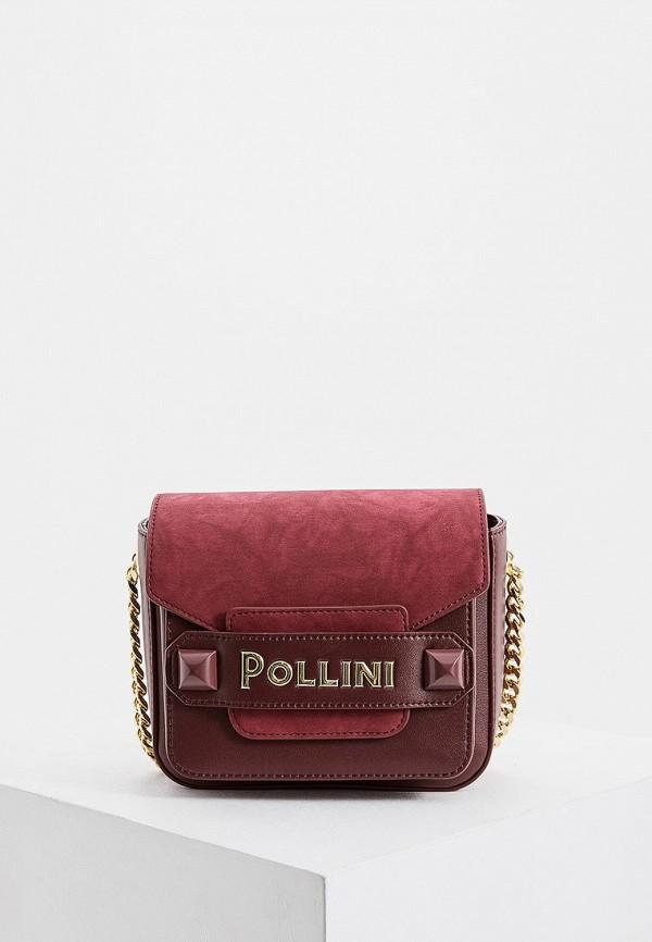 женская сумка через плечо pollini, бордовая