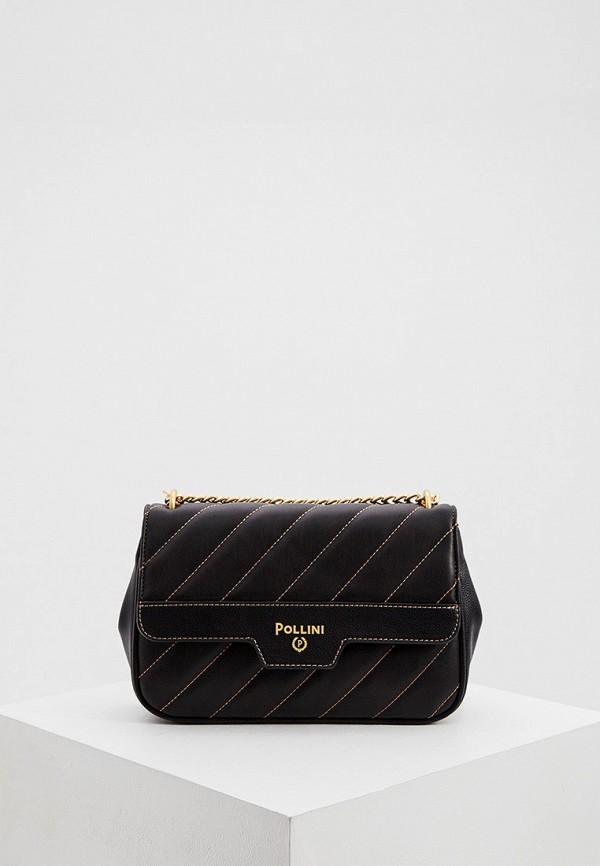 женская сумка через плечо pollini, черная