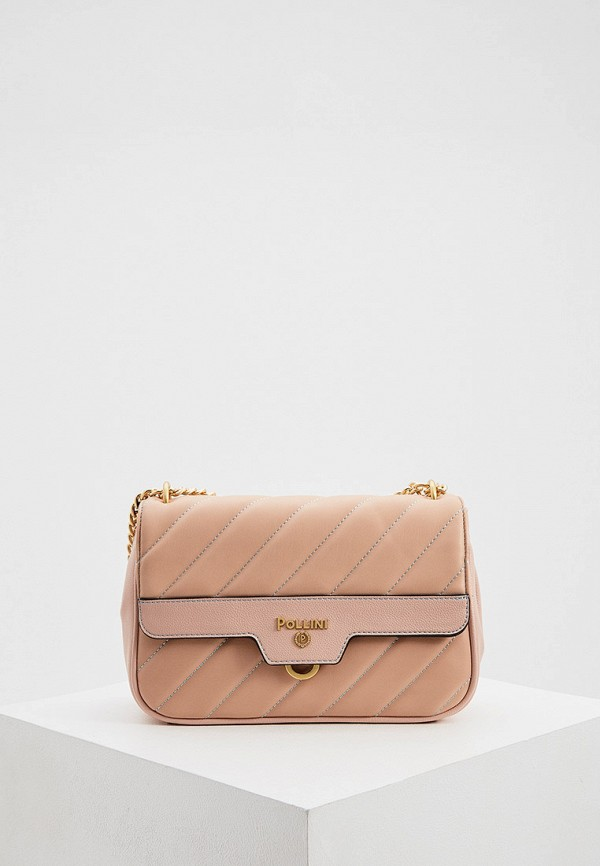 женская сумка через плечо pollini, розовая