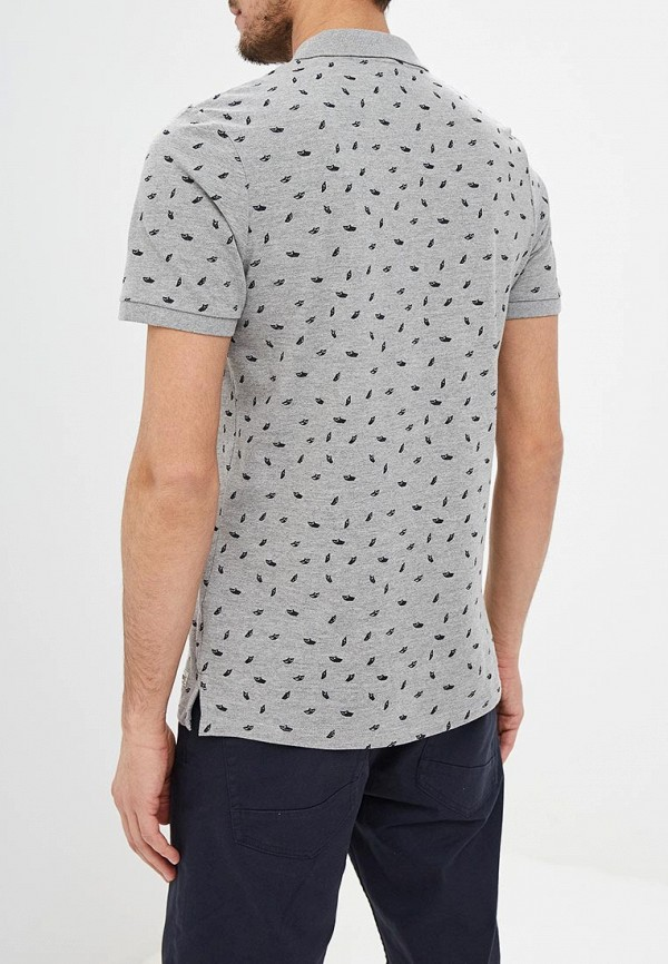Фото 3 - мужское поло Produkt серого цвета