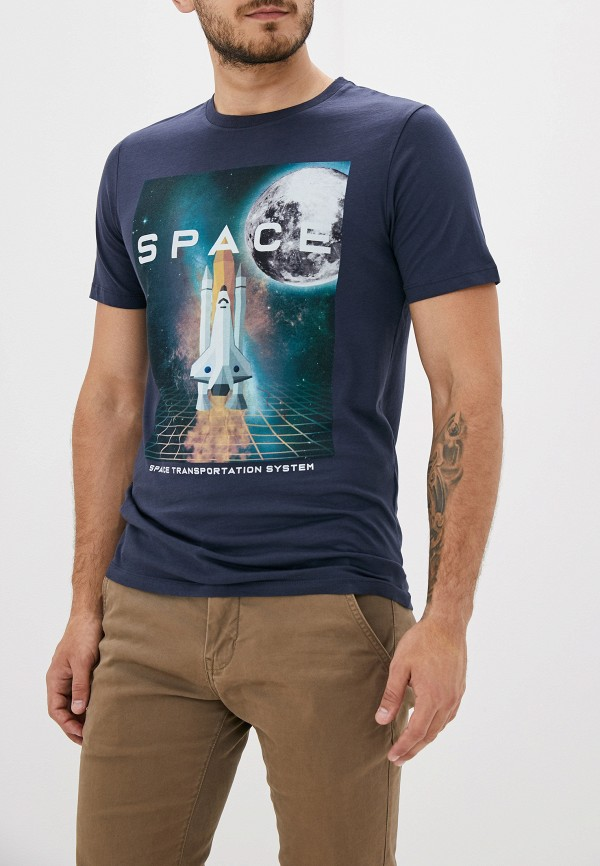 Фото - мужскую футболку Produkt синего цвета