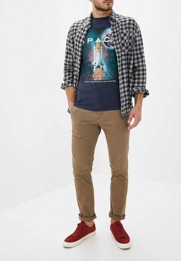 Фото 2 - мужскую футболку Produkt синего цвета