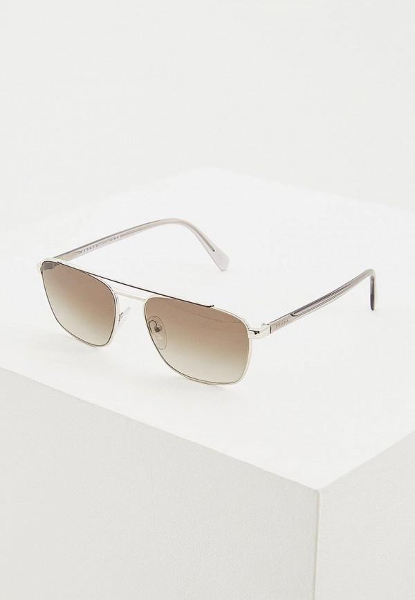 мужские солнцезащитные очки prada, серебряные