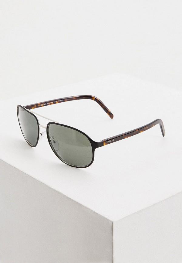 мужские квадратные солнцезащитные очки prada, черные
