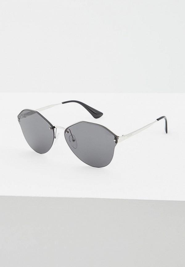 женские солнцезащитные очки prada, серебряные