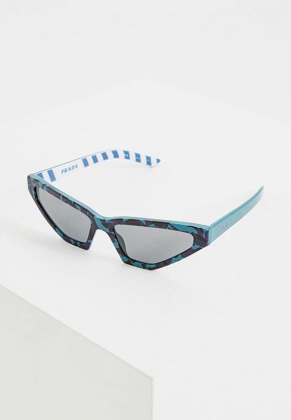 женские солнцезащитные очки кошачьи глаза prada, бирюзовые