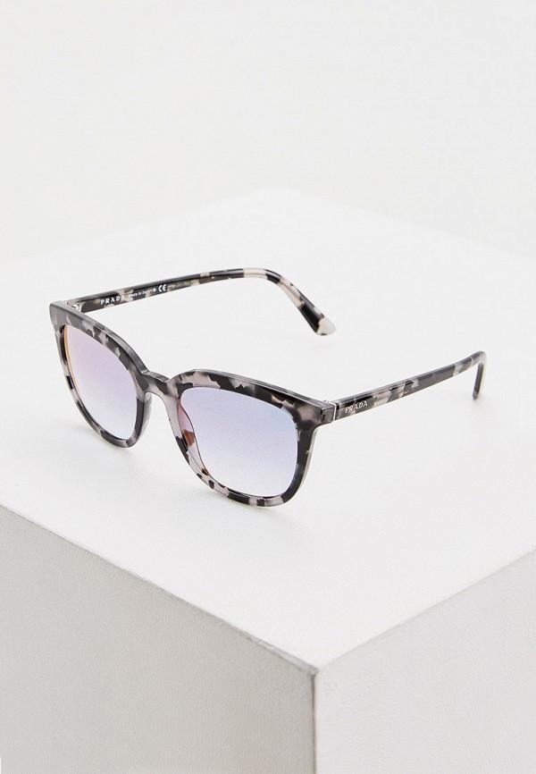 женские квадратные солнцезащитные очки prada, черные