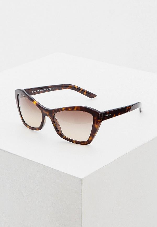 женские солнцезащитные очки кошачьи глаза prada, коричневые