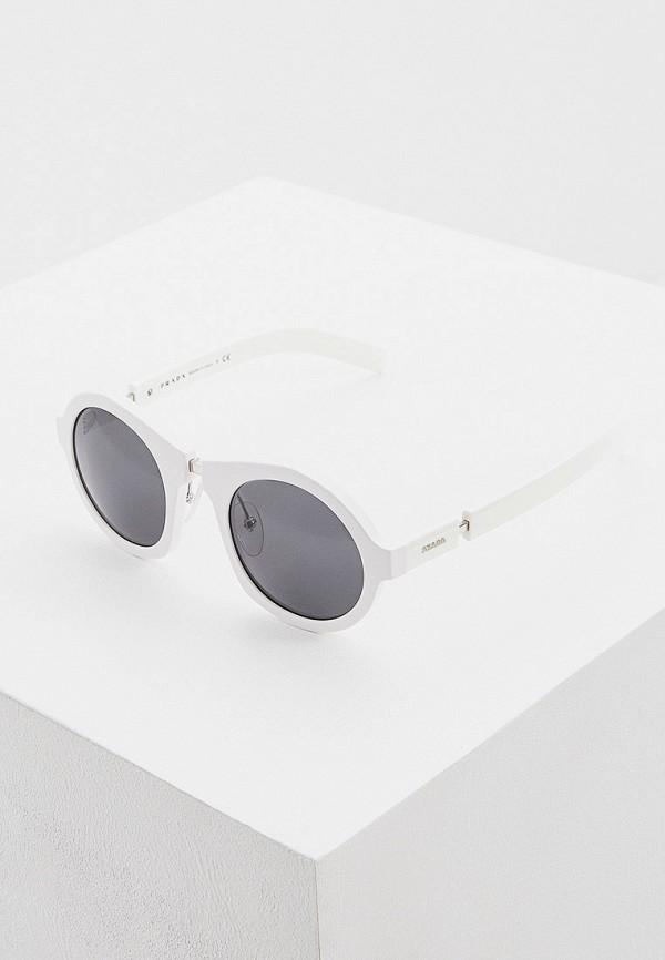 женские круглые солнцезащитные очки prada, белые