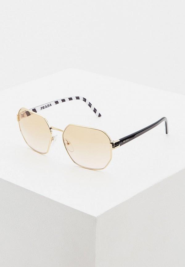 женские квадратные солнцезащитные очки prada, золотые