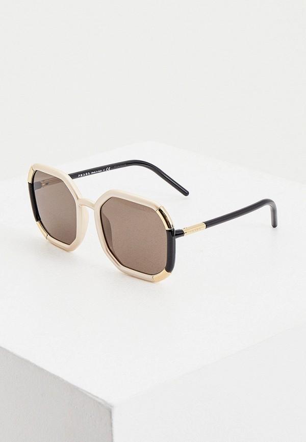 женские солнцезащитные очки prada, бежевые