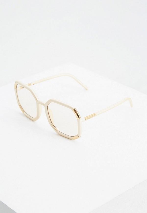 женские квадратные солнцезащитные очки prada, бежевые