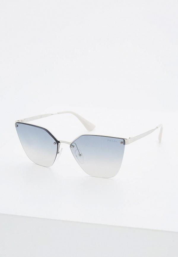 женские солнцезащитные очки кошачьи глаза prada, серебряные
