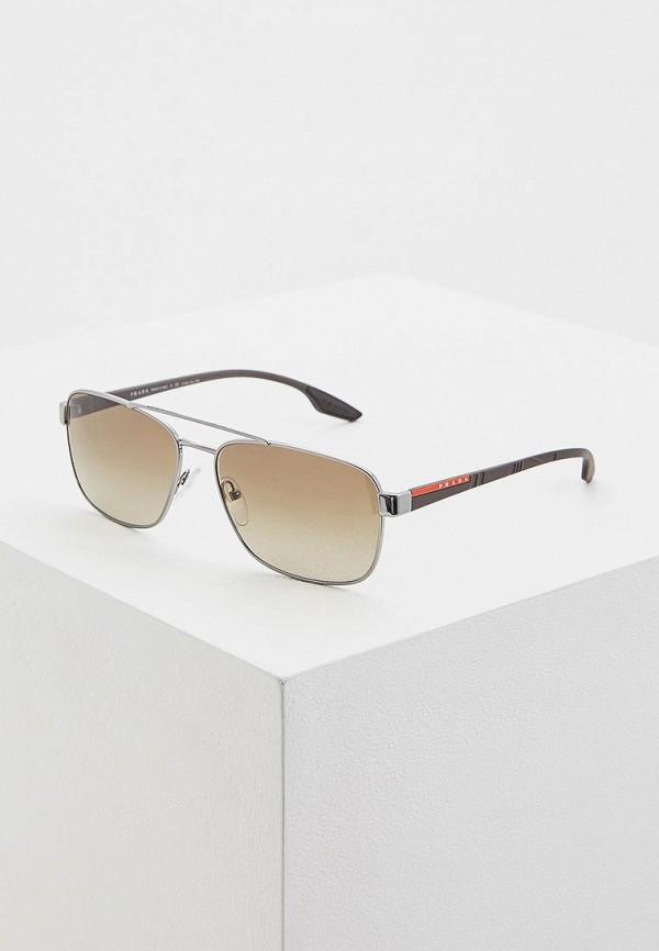 мужские солнцезащитные очки prada linea rossa, серебряные