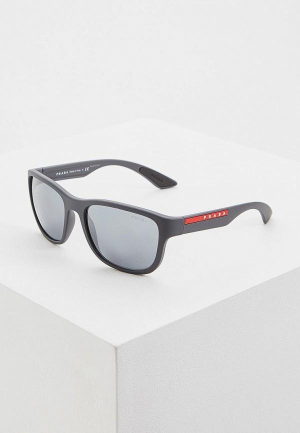 мужские квадратные солнцезащитные очки prada linea rossa, черные