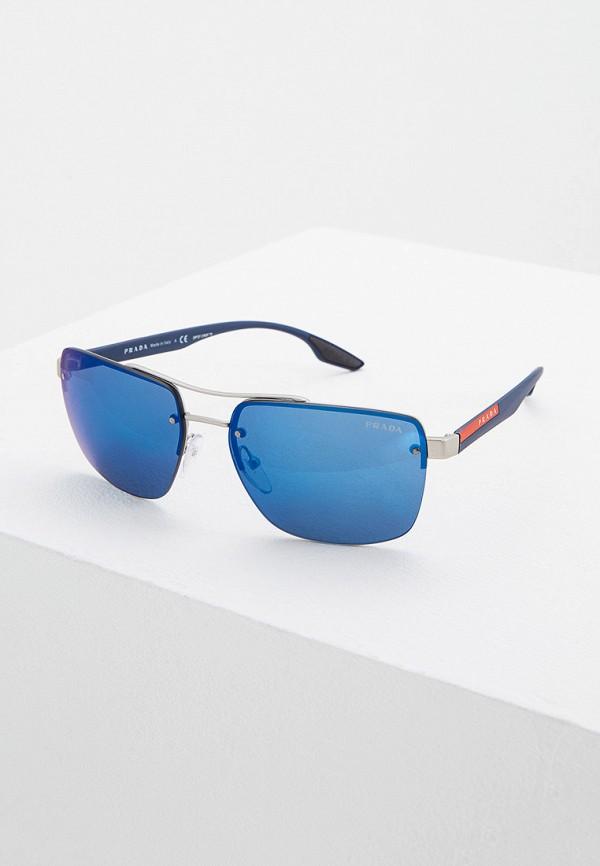 мужские квадратные солнцезащитные очки prada linea rossa, серые