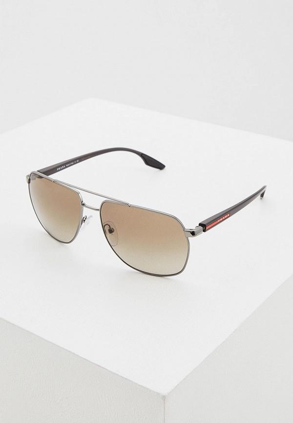 мужские солнцезащитные очки prada linea rossa, коричневые