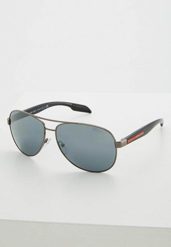 мужские авиаторы солнцезащитные очки prada linea rossa, черные
