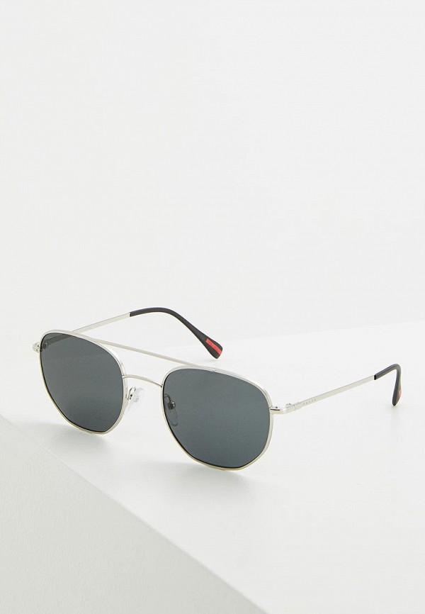женские круглые солнцезащитные очки prada linea rossa, серебряные