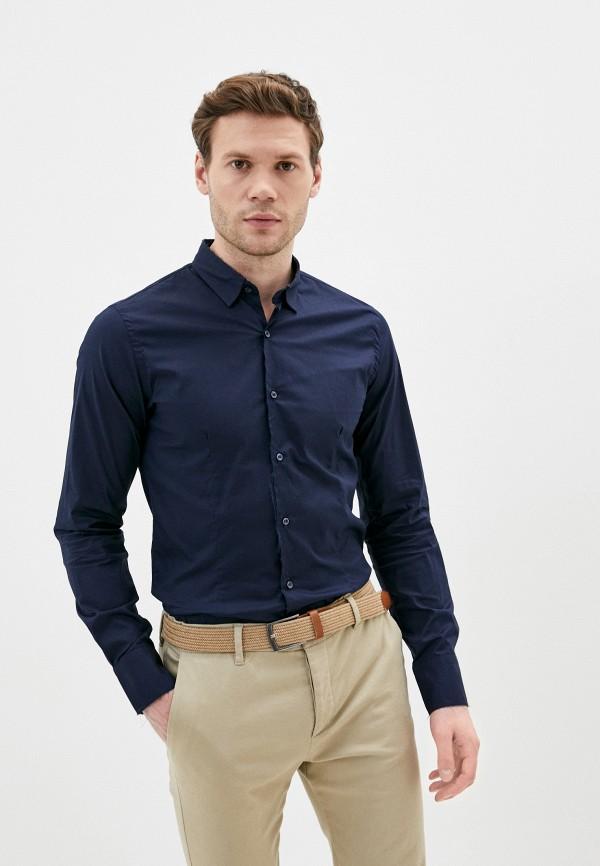 мужская рубашка с длинным рукавом primo emporio, синяя