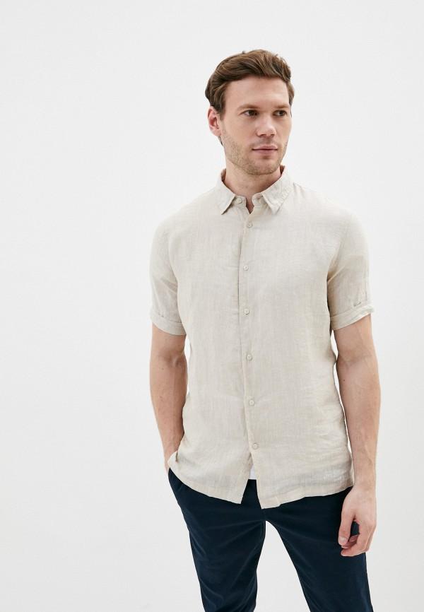 мужская рубашка с коротким рукавом primo emporio, бежевая