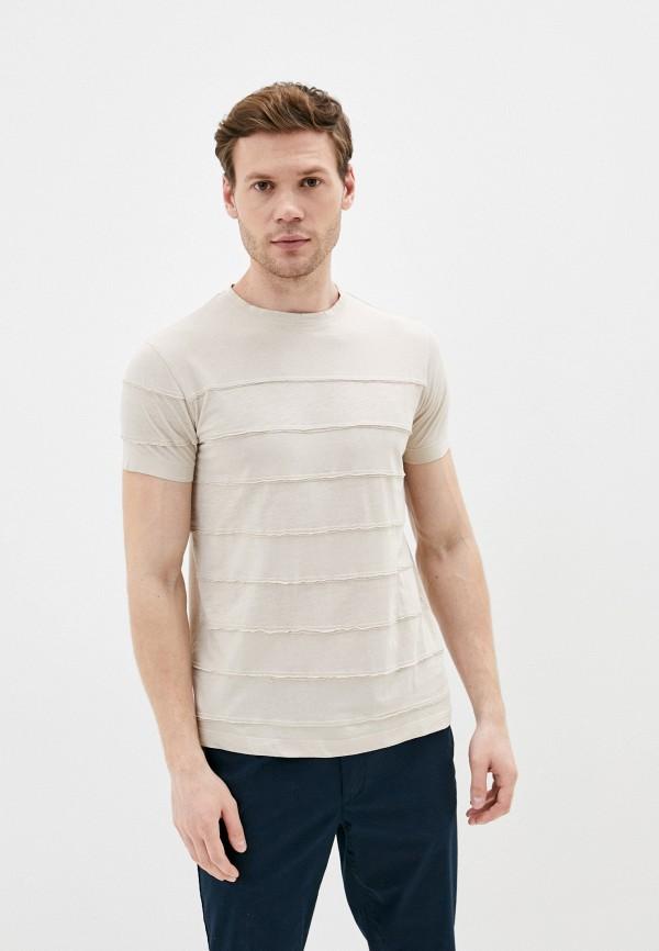 мужская футболка с коротким рукавом primo emporio, бежевая