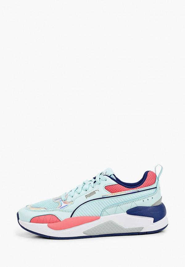 женские низкие кроссовки puma, голубые