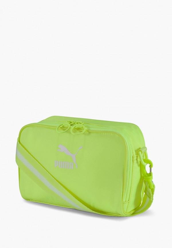 женская сумка через плечо puma, зеленая