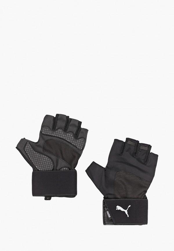 женские текстильные перчатки puma, черные