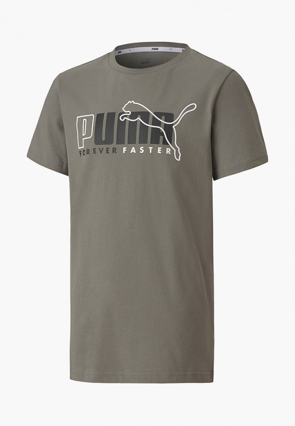футболка puma для мальчика, серая