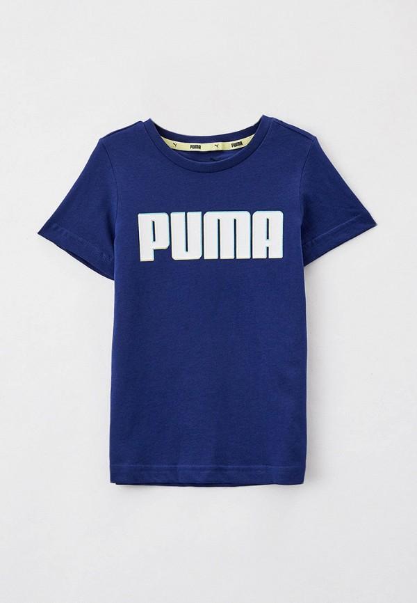 футболка puma для мальчика, синяя