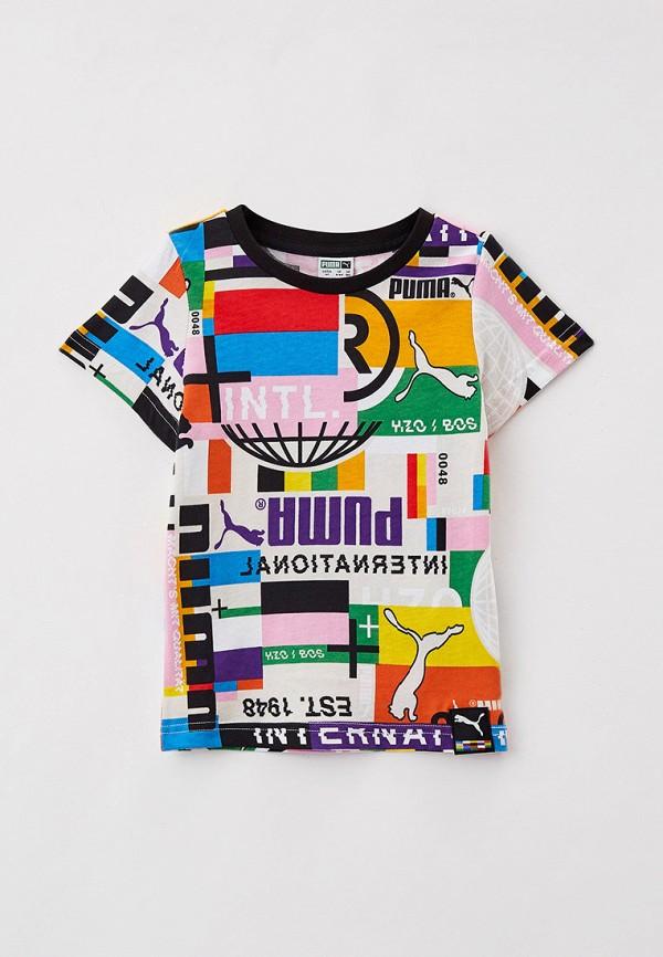 футболка puma для мальчика, разноцветная