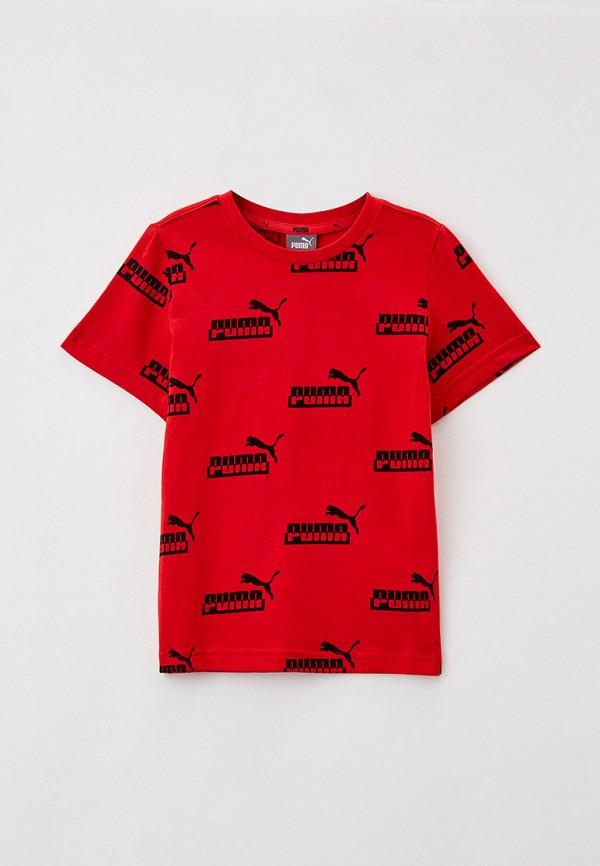 футболка с коротким рукавом puma для мальчика, красная