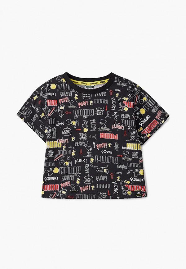 футболка puma для девочки, черная