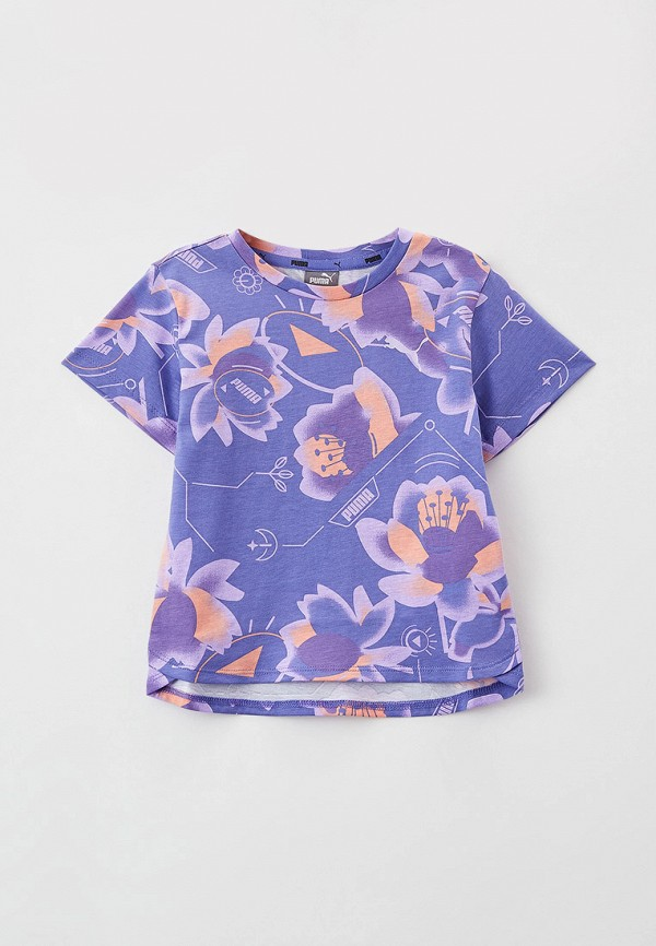 футболка с коротким рукавом puma для девочки, фиолетовая