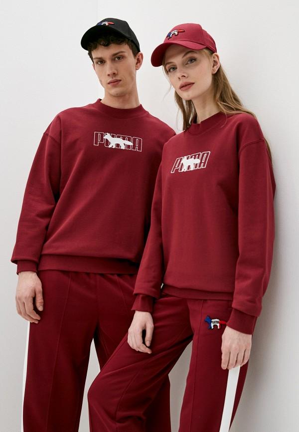 женский спортивные свитшот puma, бордовый