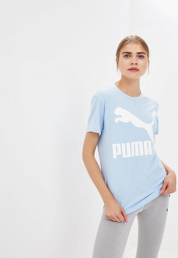 Купить Футболка PUMA, Classics Logo Tee, PU053EWCJML8, голубой, Осень-зима 2018/2019