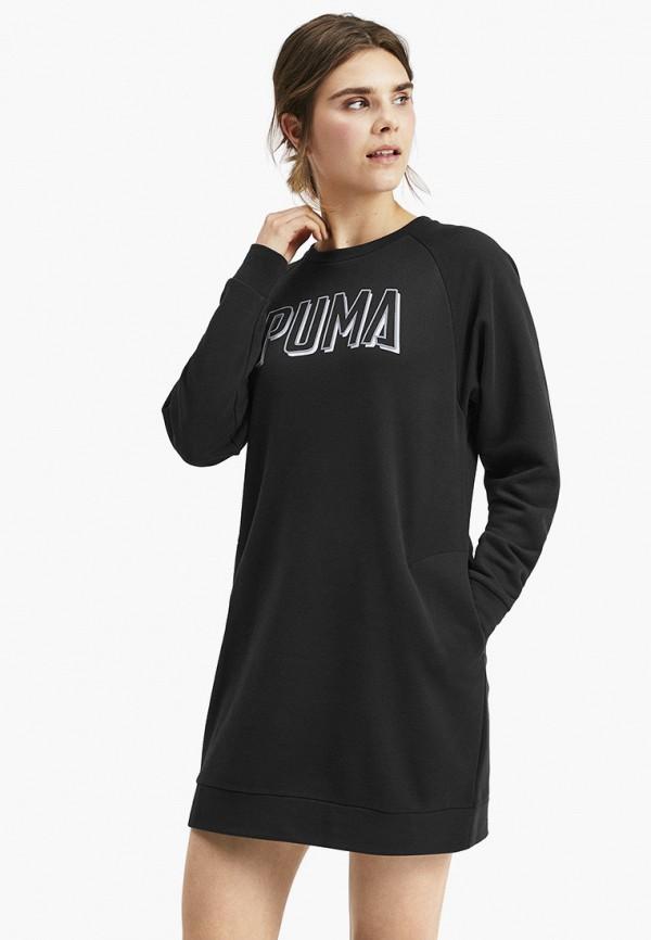 женское платье-толстовки puma, черное