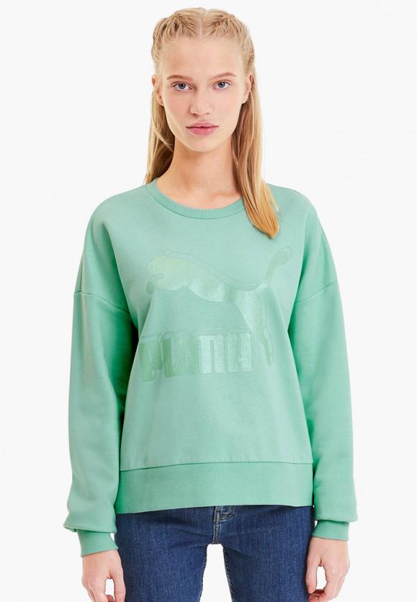 женский свитшот puma, зеленый
