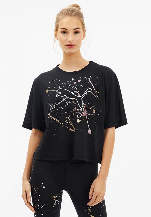 женская футболка puma, черная